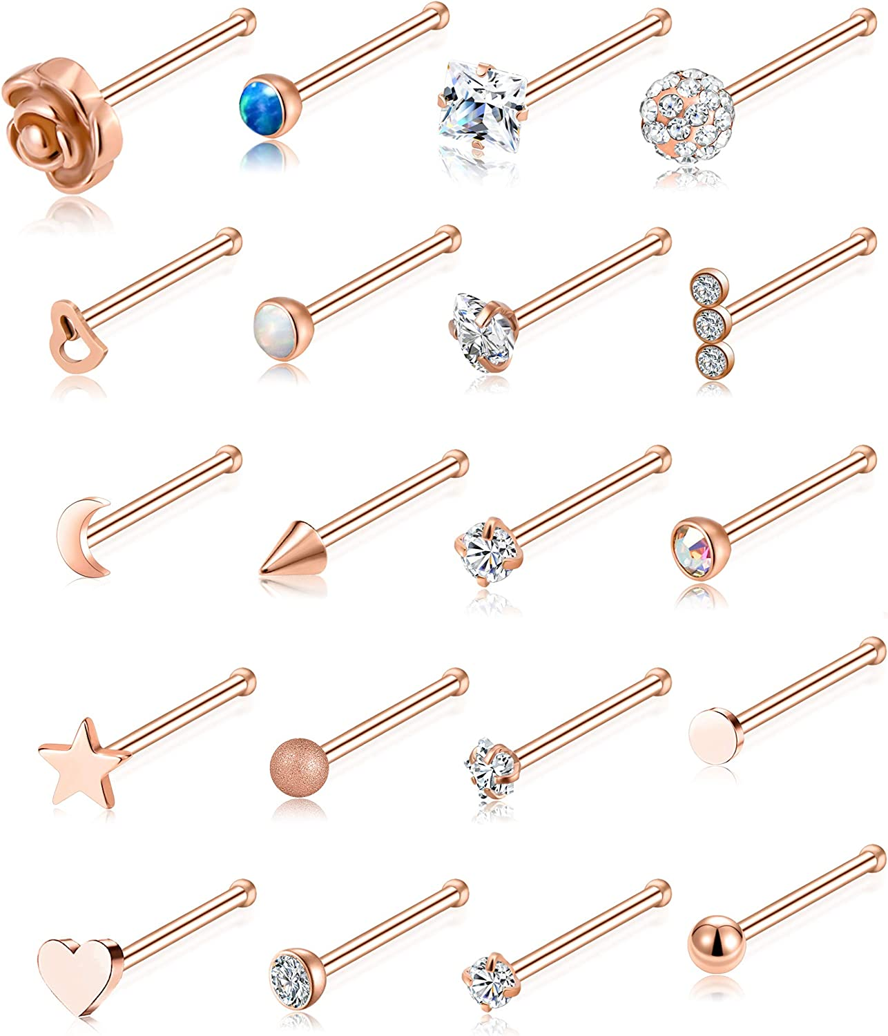 studs and gem stone nose studs. Stainless Steel coloured Nose rings