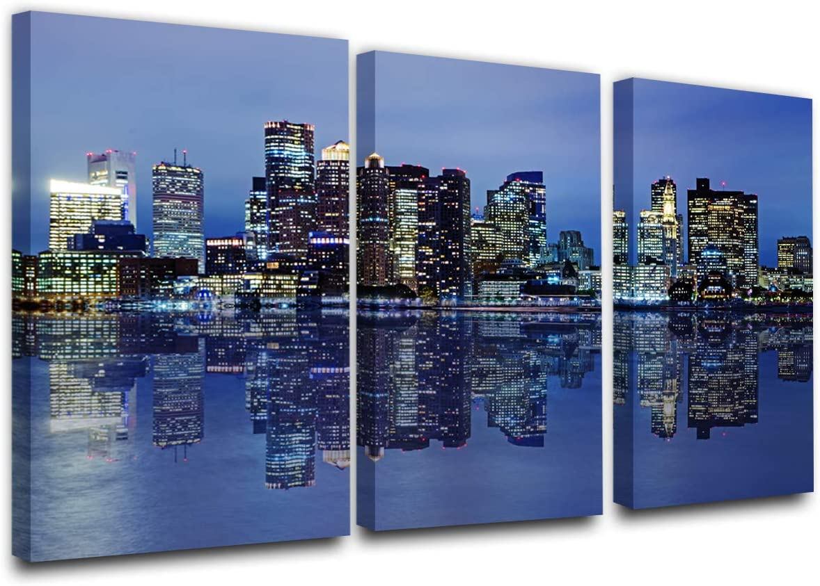 Colorful Panoramic Boston Skyline Modern Art Work Cityscape Pictures Paintings on Canvas Wall Art Wall Pictures for Bedroom Art Home Decorations Office Decor Ready to Hang (24'' x 12'' x 3 panels)