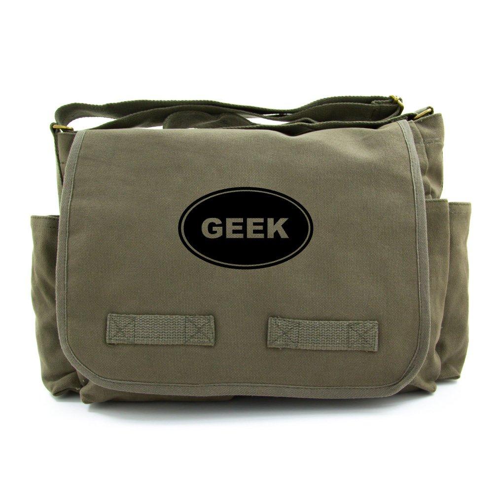 GEEK Army Heavyweight Canvas Messenger Shoulder Bag in Olive & Black