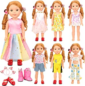Miunana 11 pcs Doll Clothes and Accessories 14.5 inch Clothes Outfits Dresses Shoes for 14 Inch to 14.5 Inch American Wishers Doll Clothes