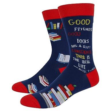 67c6c6606b Men s Crazy Funny Teacher Crew Socks Novelty Book School Dress Socks in  Blue Mark Twain Quotes  Amazon.co.uk  Clothing