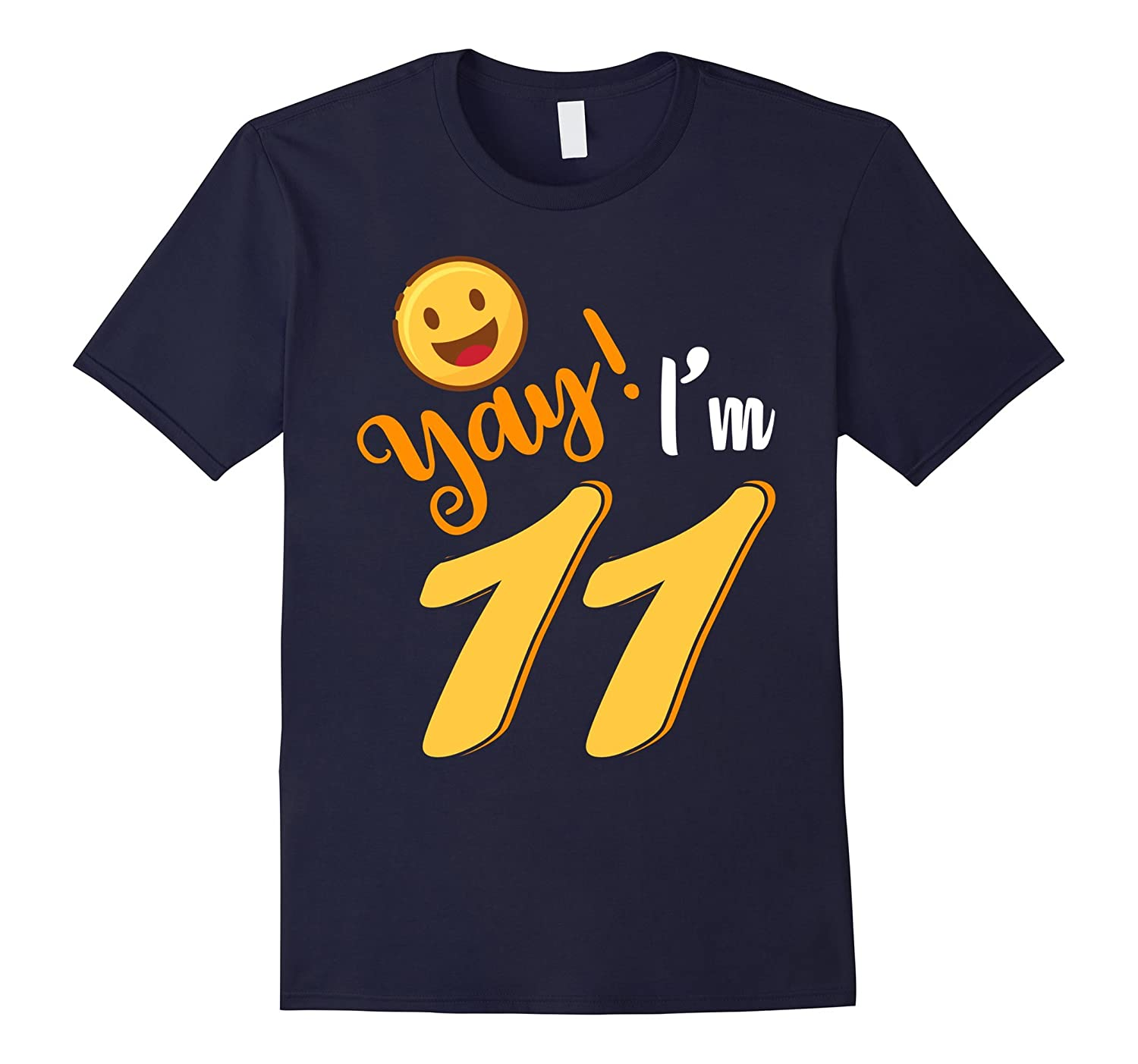 11th Birthday Tshirt Yay Im 11 Funny Emoji Birthday Shirt-PL