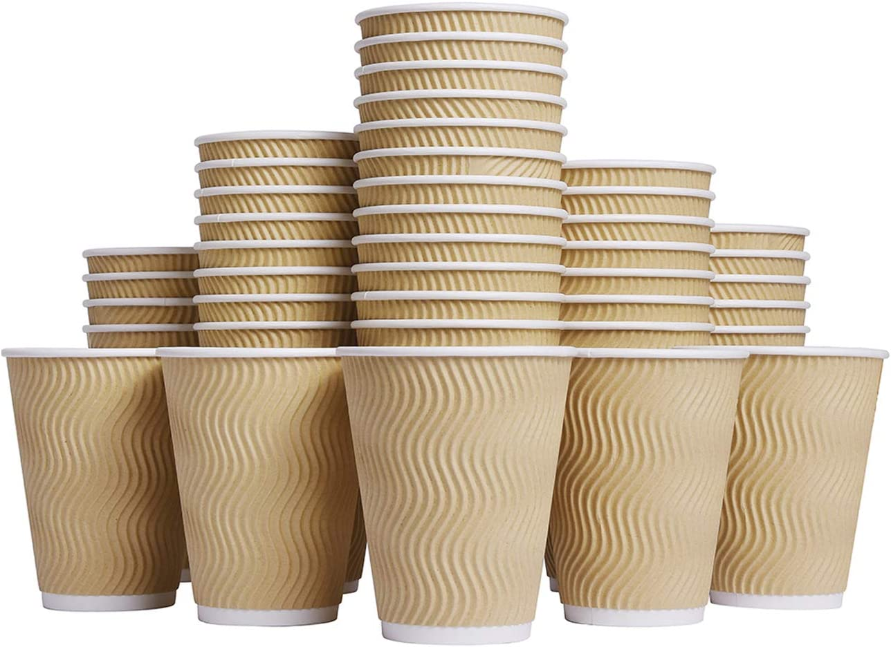 Luckypack Hot 12 oz Disposable Insulated Corrugated Sleeve Ripple Wall Paper Coffee Cups for Drink, 12OZ, Brown