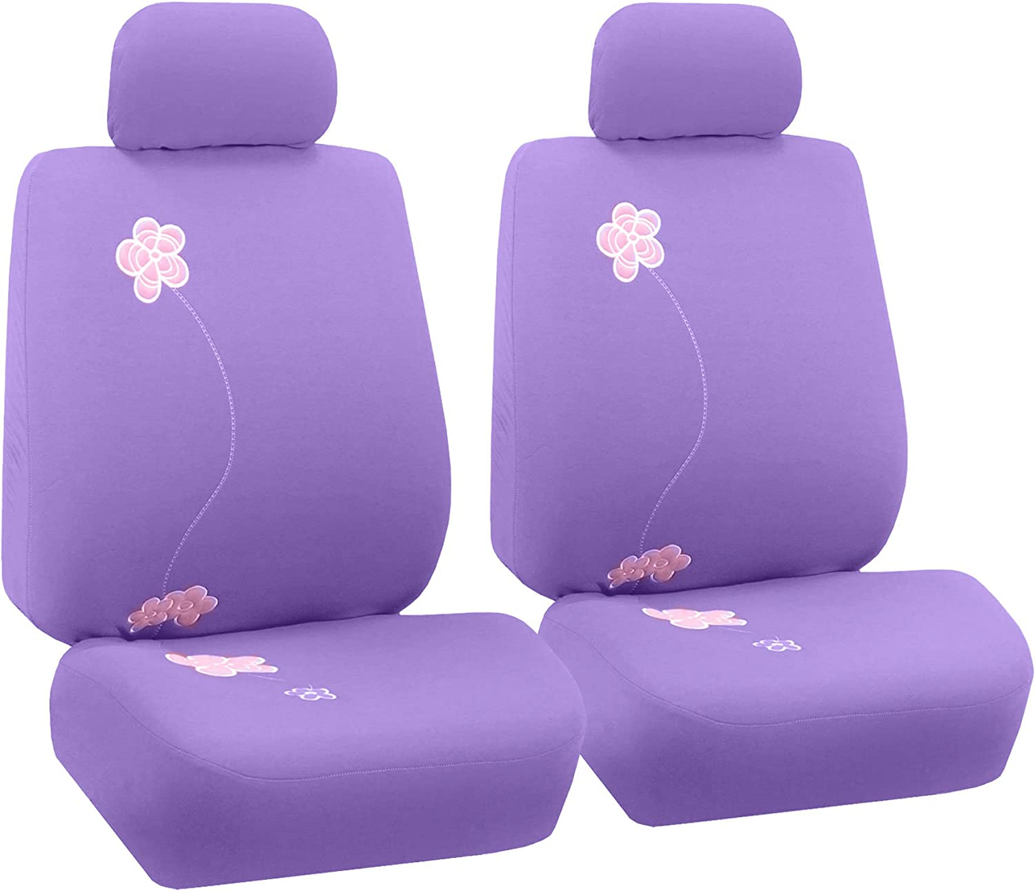 FH Group FB053PURPLE102 Seat Cover (Flower Embroidery Airbag Compatible (Set of 2) Purple)
