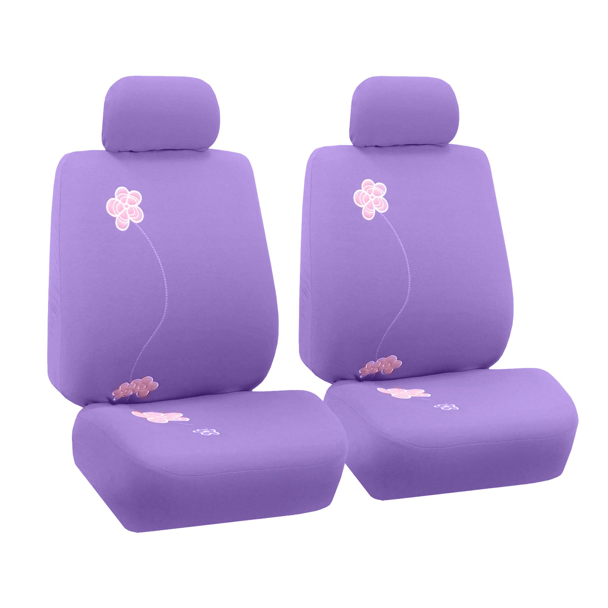 FH Group FB053PURPLE102 Seat Cover (Flower Embroidery Airbag Compatible (Set of 2) Purple) by FH Group