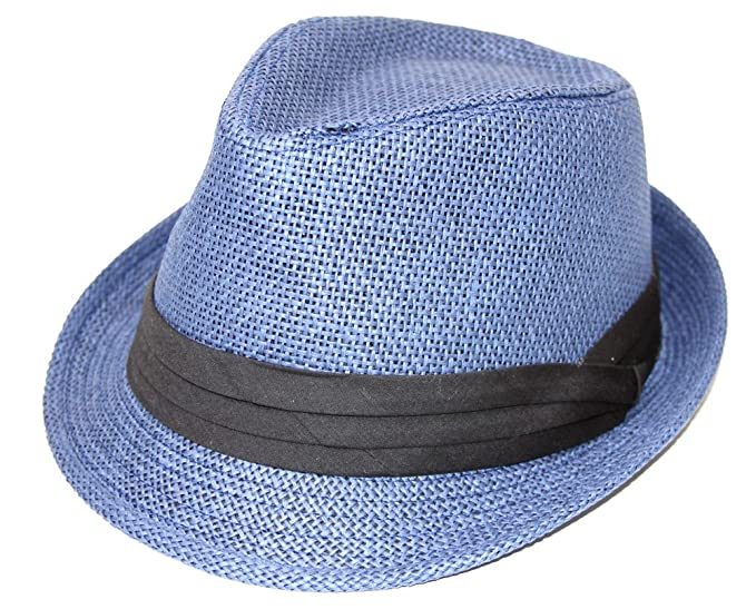 The Hatter Company Straw Fedora Hat- Blue at Amazon Women s Clothing ... 3d388ff58