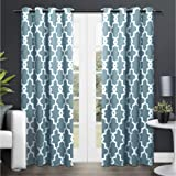 Exclusive Home Ironwork Sateen Woven Blackout Grommet Top Curtain Panel Pair, Teal, 52x108, 2 Piece