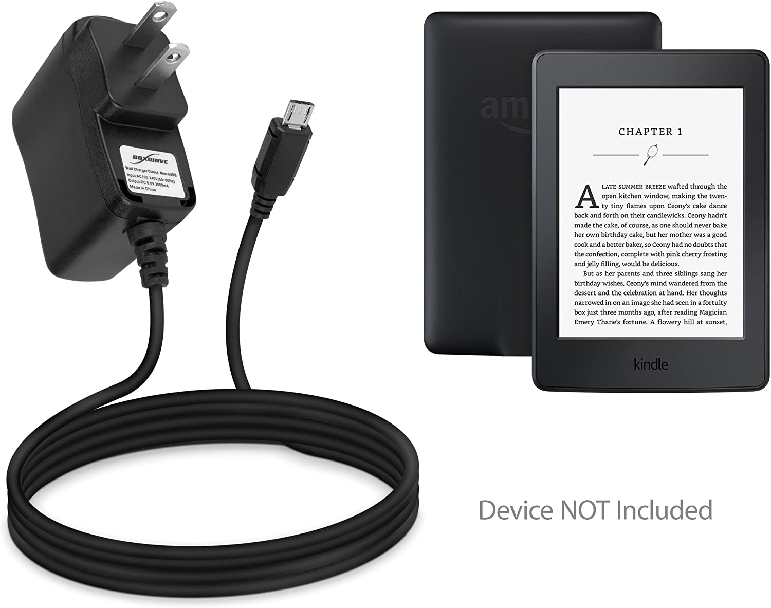 Amazon Kindle Paperwhite (2016) Charger, BoxWave [Wall Charger Direct] Wall Plug Charger for Amazon Kindle Paperwhite (2016)