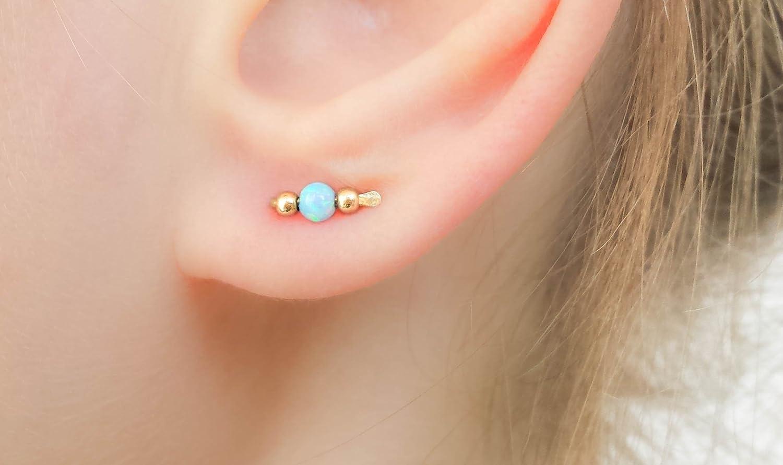 Opal Stud Earrings Tiny Bar Climber Studs 14k Gold Filled Everyday Jewelry Crawler Ear Sweep