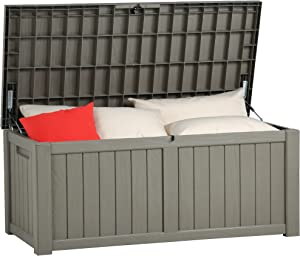YITAHOME 120 Gallon Outdoor Storage Deck Box, Large Resin Patio Storage for Outdoor Pillows, Garden Tools and Pool Toys, Waterproof, Lockable, Light Brown