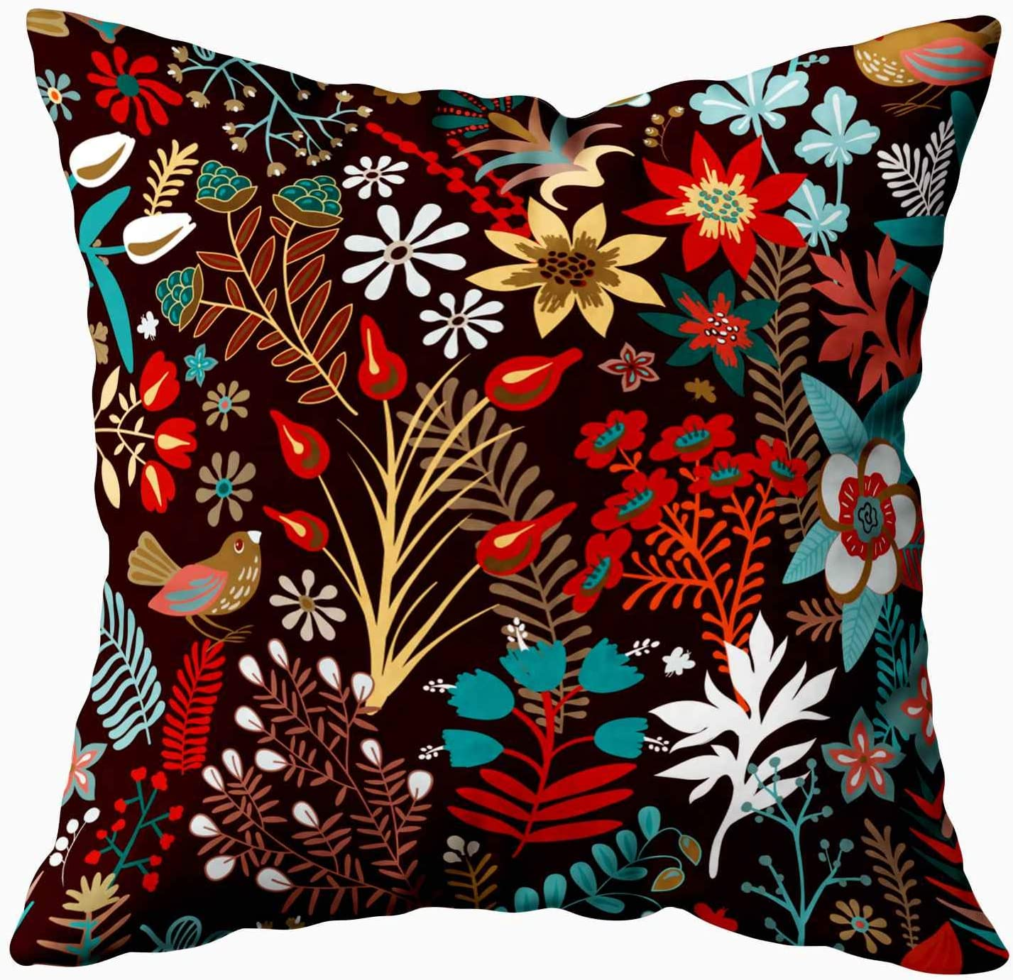 Amazon Com Shorping Decorative Throw Pillow Covers Zippered Covers Pillowcases 16x16inch Throw Pillow Covers Pattern Stylized Flowers Plants For Home Sofa Bedding Home Kitchen