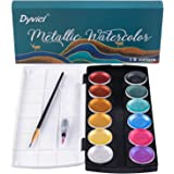 Dyvicl Glitter Metallic Watercolor Set - 12 Assorted Colors, Portable Box with Water Brush, Metallic Accents for Black Paper