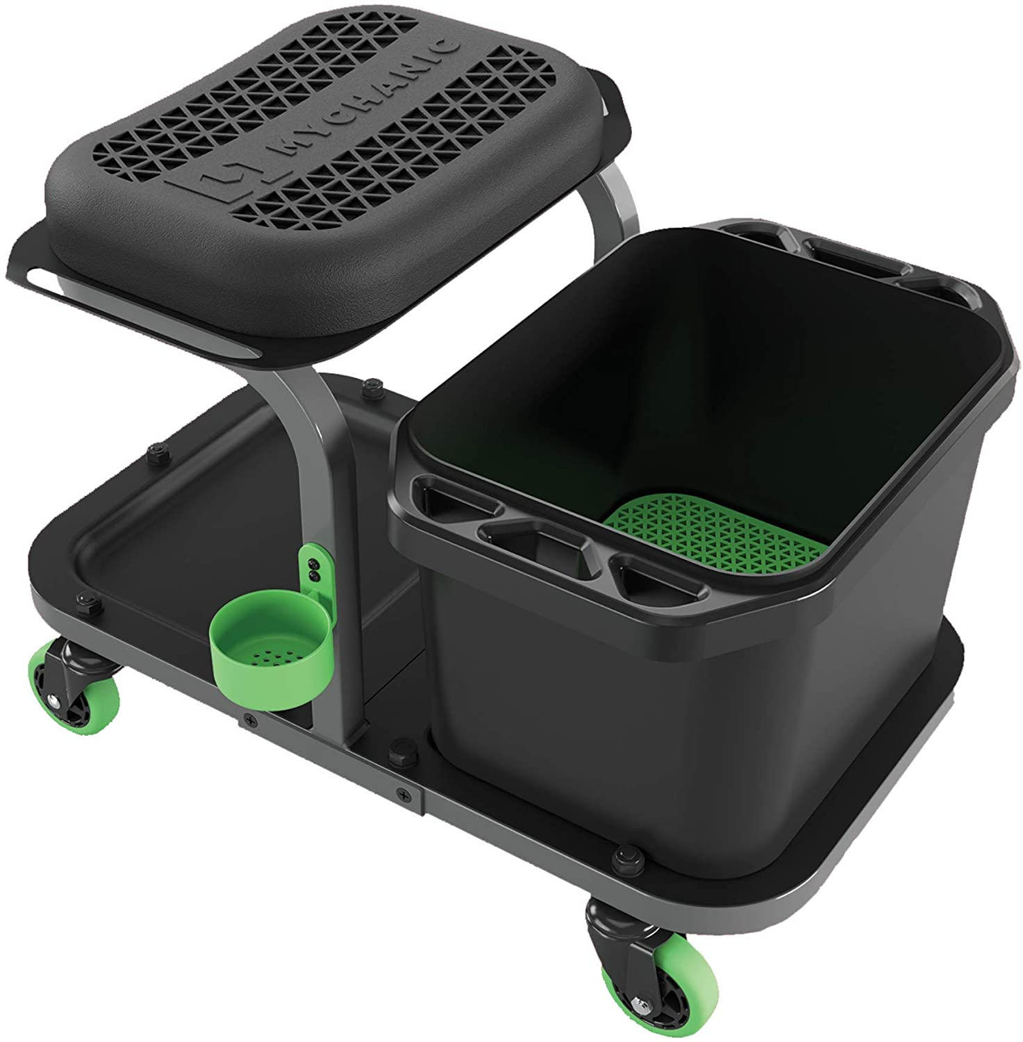 MYCHANIC Rolling Car wash Stool with Bucket Dolly - Heavy-Duty 5 Gallon Car Wash Bucket with Grit Guard - 350 Pound Capacity - Kneeling Pad - Cup Holder - Powder Coated Steel Frame: Automotive