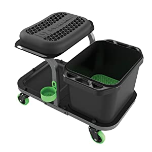 MYCHANIC Detailing Rig - Car Detailing Stool with Bucket Dolly - Heavy-Duty 5 Gallon Car Wash Bucket with Grit Guard - 350 Pound Capacity - Kneeling Pad - Cup Holder - Powder Coated Steel Frame