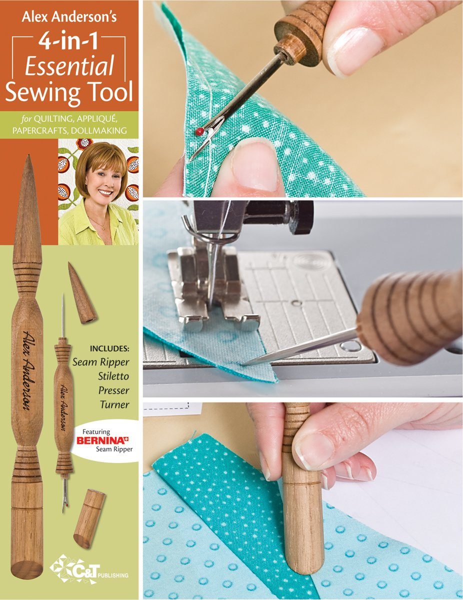 C&T PUBLISHING Alex Anderson's 4-in-1 Essential Sewing Tool: Includes Seam Ripper, Stiletto, Presser, and Turner (20109) by C&T PUBLISHING