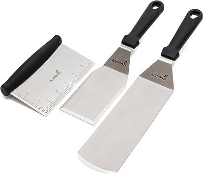 pour Retourner Les grillades comme Les Hamburgers au Barbecue spatule /à Grill en Acier Inoxydable et Bois com-four/® 2X Grattoir /à Grill avec Manche en Bois
