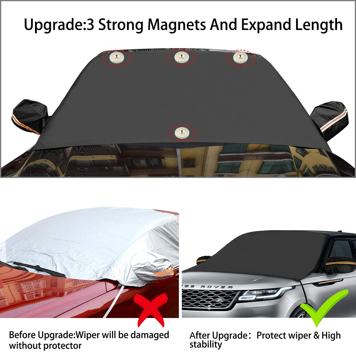 Trucks SUVs MPVs for Vehicle+Rear Mirror Covers Tobion Windshield Ice Snow Cover- Magnetic Edges -Sun Shade Protector -Anti Foil Ice Frost Dust Waterproof Protector All Cars