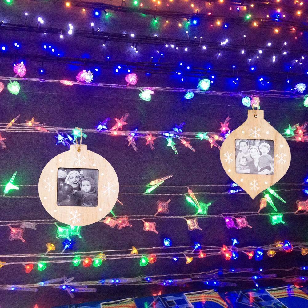 4pcs marcos de fotos de Navidad para las paredes o colgantes de madera Marcos innovadoras decoraciones colgantes DIY madera colgante árbol de Navidad ...