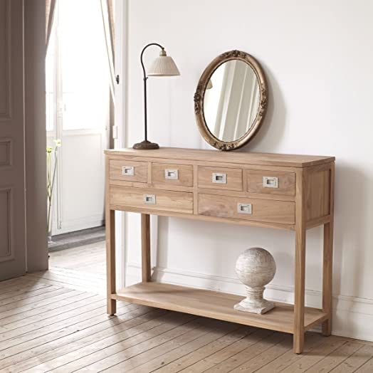 Solid Teak Wood Console Table Sideboard Drawers Design Living Room Corridor