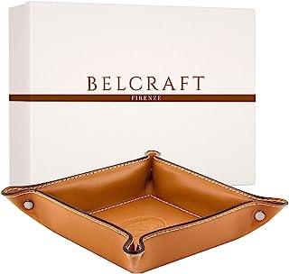Belcraft Orvieto Svuotatasche in Pelle, Realizzato a Mano da Artigiani Toscani, Regalo per la Casa, Porta Oggetti, Marrone Chiaro (19x19 cm)