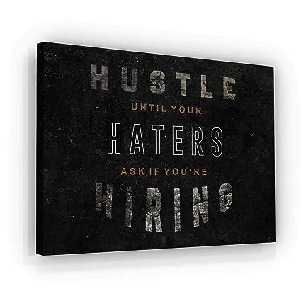 Amazon com: Hustle Motivational Wall Art Canvas Print, Office Decor