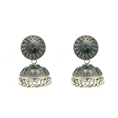 b2ad38459 Buy Sterling Silver traditional Oxidized look Jhumki/Jhumkas Earrings for  women by Silver Zone (Real Silver Jewellery) Online at Low Prices in India  ...