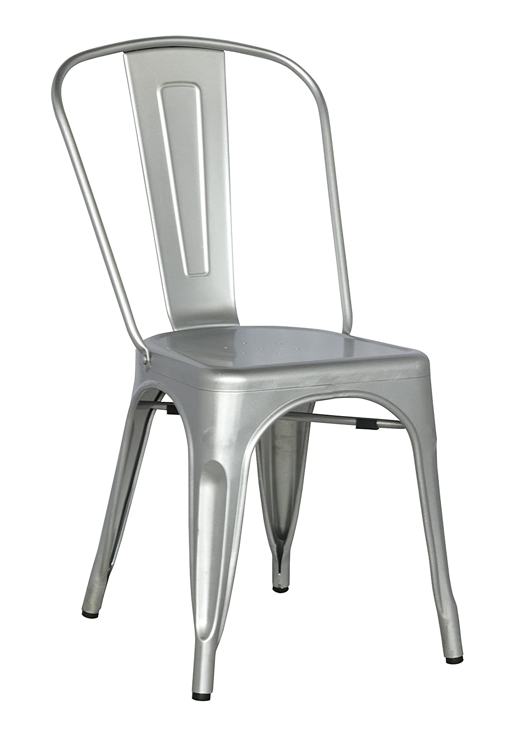 Amazon.com   Chintaly Imports Galvanized Steel Side Chair With, Set Of 4,  Gun Metal   Chairs