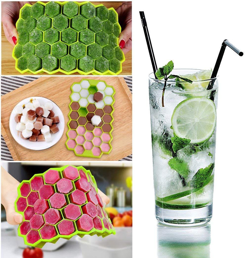 Candy Budino Verde Drink Ninonly 4Pcs Stampo Cubetti Ghiaccio Stampo Ghiaccio Silicone con Coperchio 72 Pezzi Cubo di Acqua per Alcolici Blu Whisky Cocktail