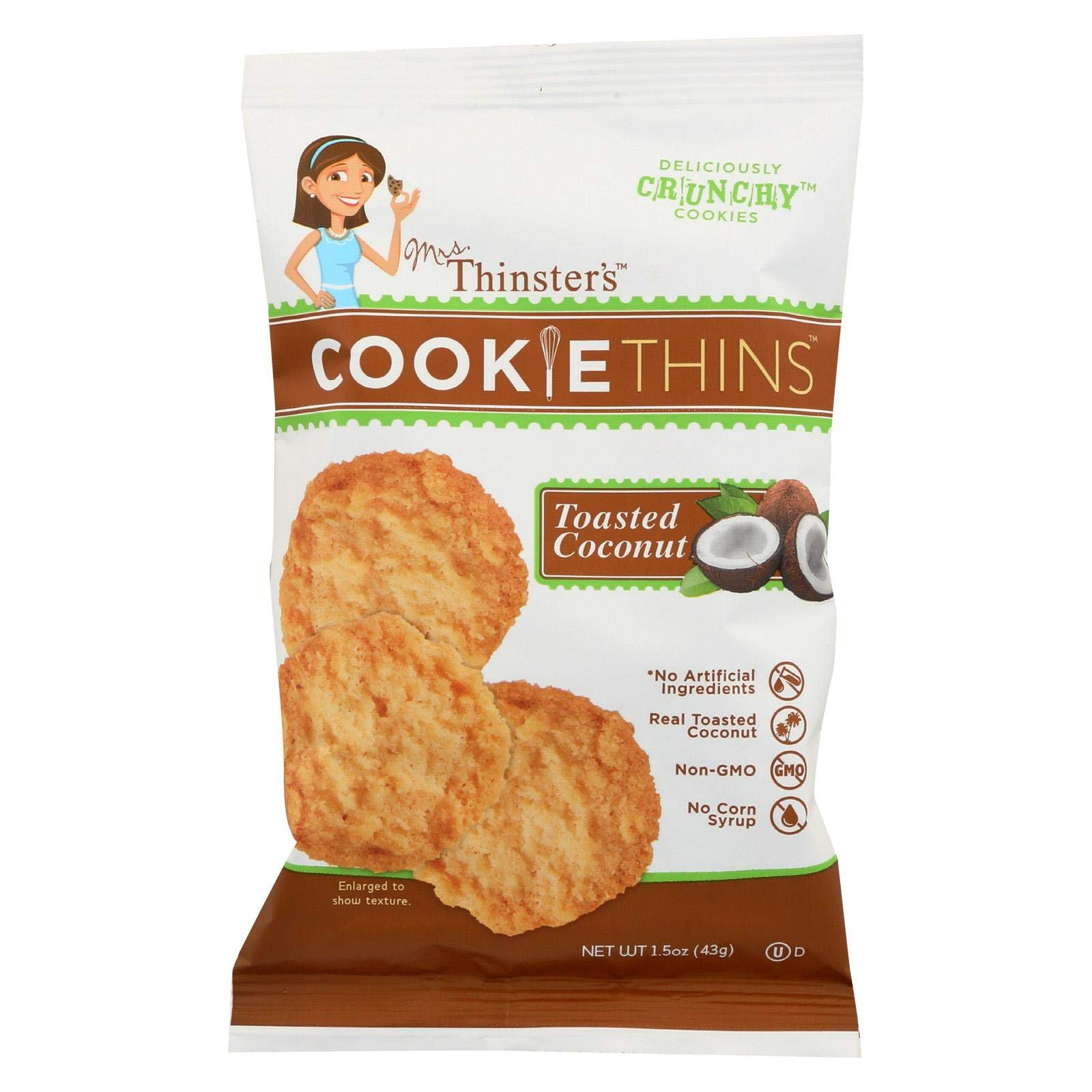 MRS. THINSTER'S, Ckie Thin, Toasted Coconut, Pack of 8, Size 1.5 OZ, (No Artificial Ingredients)