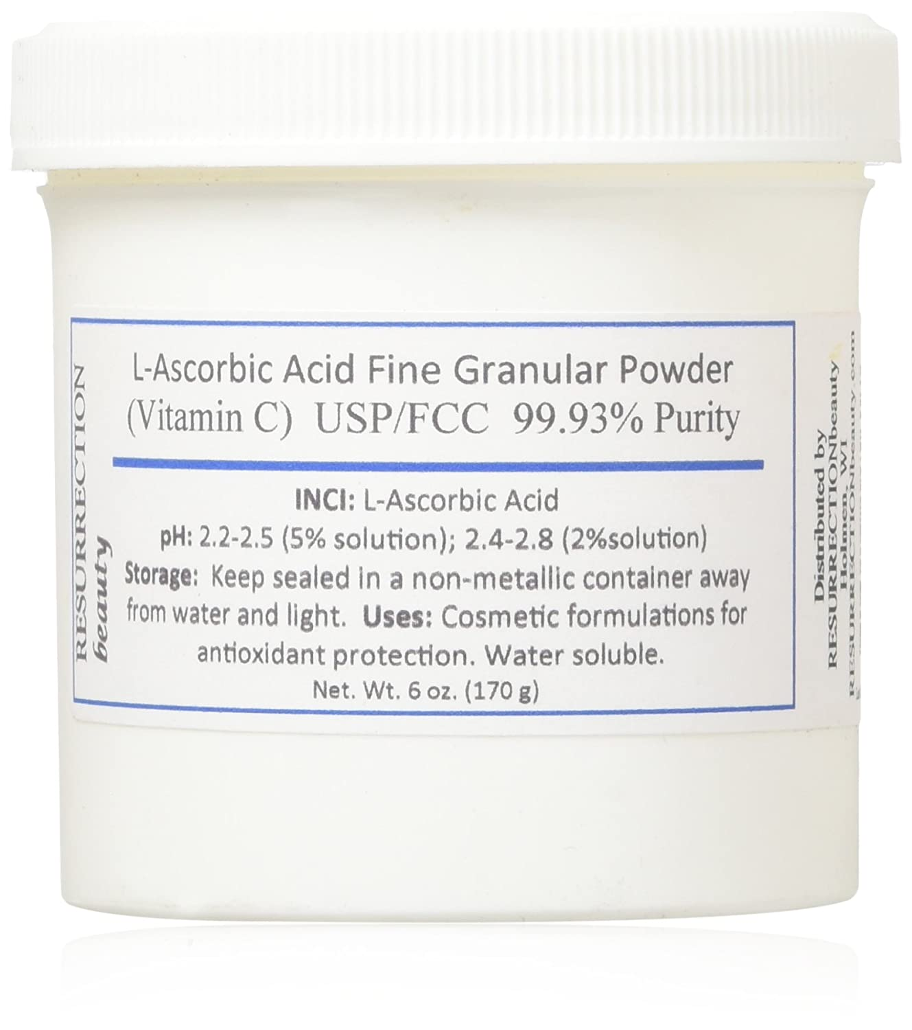 L-Ascorbic Acid Powder USP/FCC Grade (Vitamin C), 6 oz. Jar. For Use in Serums and Cosmetic Formulations USA NA
