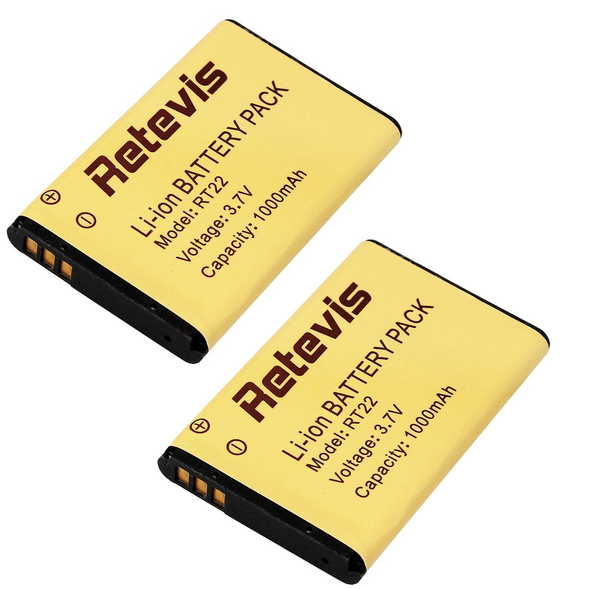 Retevis RT22 Walkie Talkie Battery Original Li-ion Battery 3.7V 1000mAh for Retevis RT22 WLN KD-C1 Two Way Radio(2 Pack)