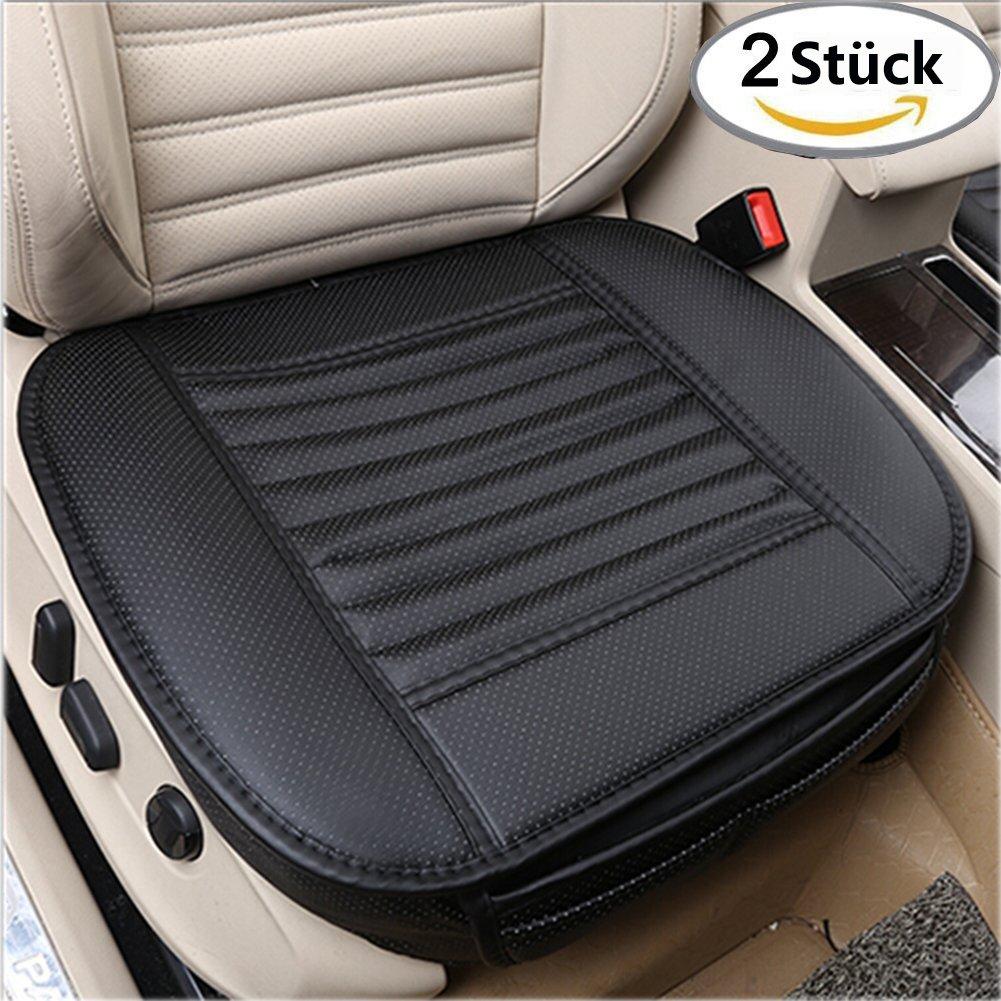 Big Ant sede di auto di sedile Cuscino per auto Paraurti auto copertura per sedile anteriore con bambù carbone PU Cuoio X 2pezzi, nero