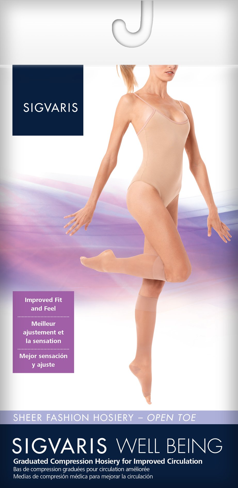 SIGVARIS Women's SHEER FASHION 120 Open Toe Calf Compression Hose 15-20mmHg by SIGVARIS (Image #2)