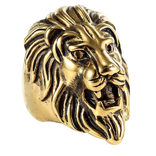 Jewelry Rock Mens Stainless Steel Gold Lion Head Ring Amazon
