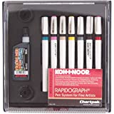 Koh-I-Noor Rapidograph Pen and Ink Set, 7 Assorted Pen Nibs and .75 oz. Bottle of Ultradraw Black Ink, 1 Set Each (3165SP7P)