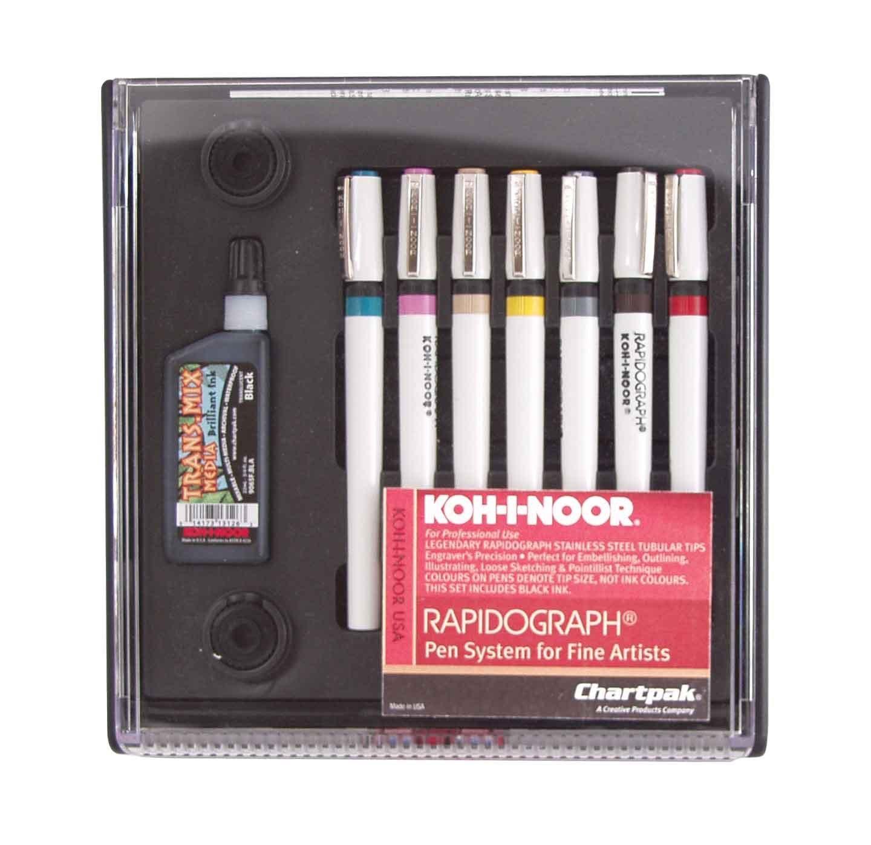 Koh-I-Noor 3165SP7P KIN3165-SP-7 KOH I Nor Radiograph Technical 7Pen Assorted Nibs Multicolor by Koh-I-Noor