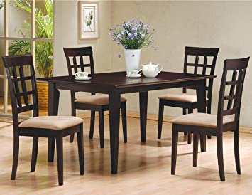 Wonderful 5 PC Espresso Brown 4 Person Table And Chairs Brown Dining Dinette    Espresso Brown And