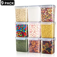 Airtight Food Storage Containers 9 Pieces 1.5qt / 1.6L- Plastic PBA Free Kitchen Pantry Storage Containers for Sugar…