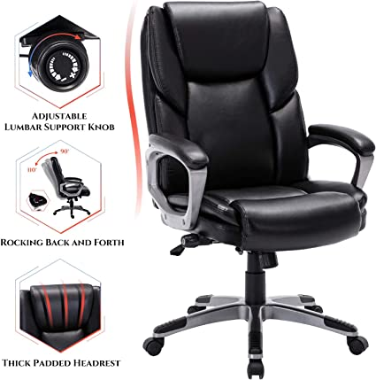 STARSPACE Bonded Leather Office Chair - Flexible Reclining System