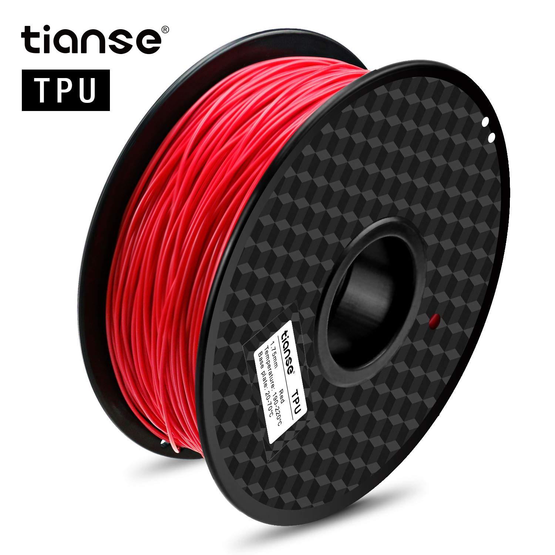 TIANSE Imprimante 3D Filament TPU Matériaux d\'impression 3D en filament 1.75mm 1KG (Rouge clair)