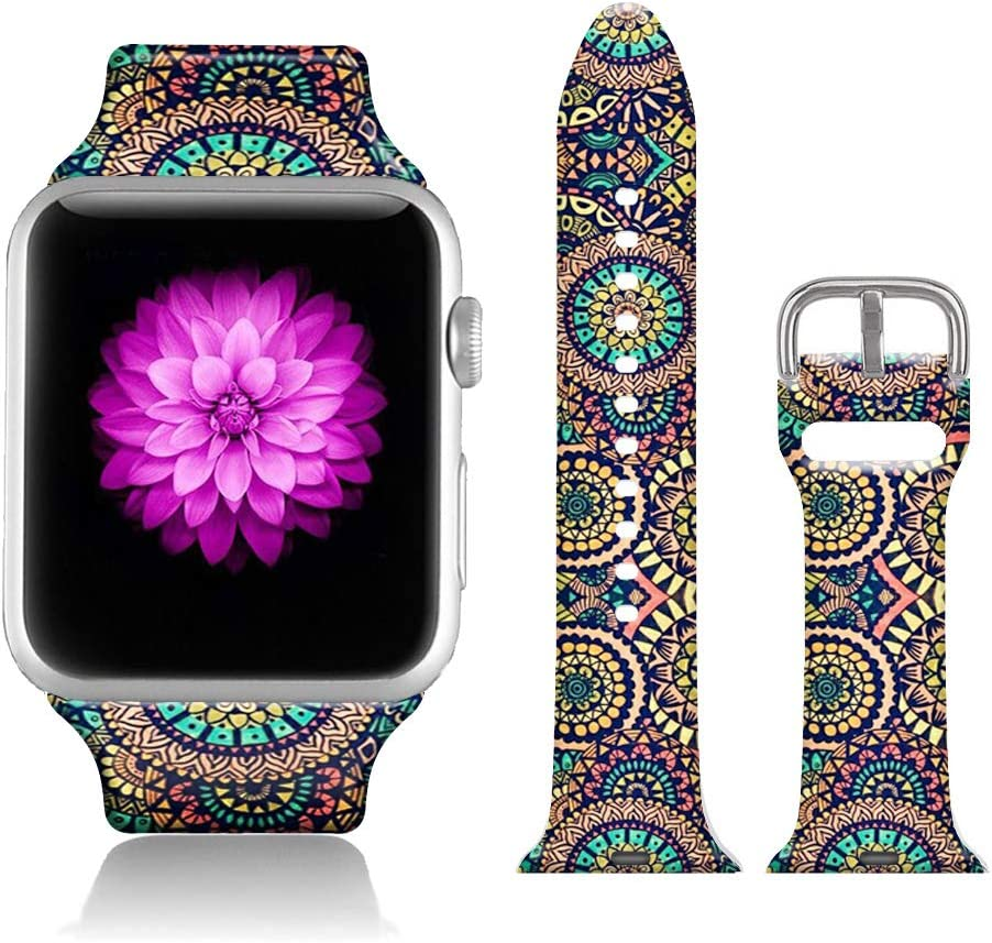 FTFCASE Sport Bands Compatible with iWatch 38mm/40mm Flower Totem - Khaki, Flower Printed Soft Silicone Strap Replacement for iWatch 38mm/40mm Series 4/3/2/1 Women Men