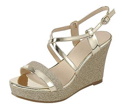 2b108c0da4b7 Cambridge Select Women s Open Toe Crisscross Ankle Strappy Mixed Media  Glitter Platform Wedge Sandal (5