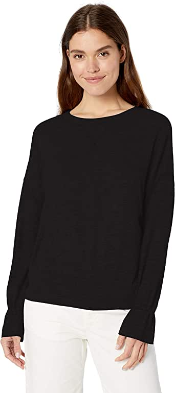 Daily Ritual Amazon Brand Women's Cozy Knit Gathered Sleeve Top