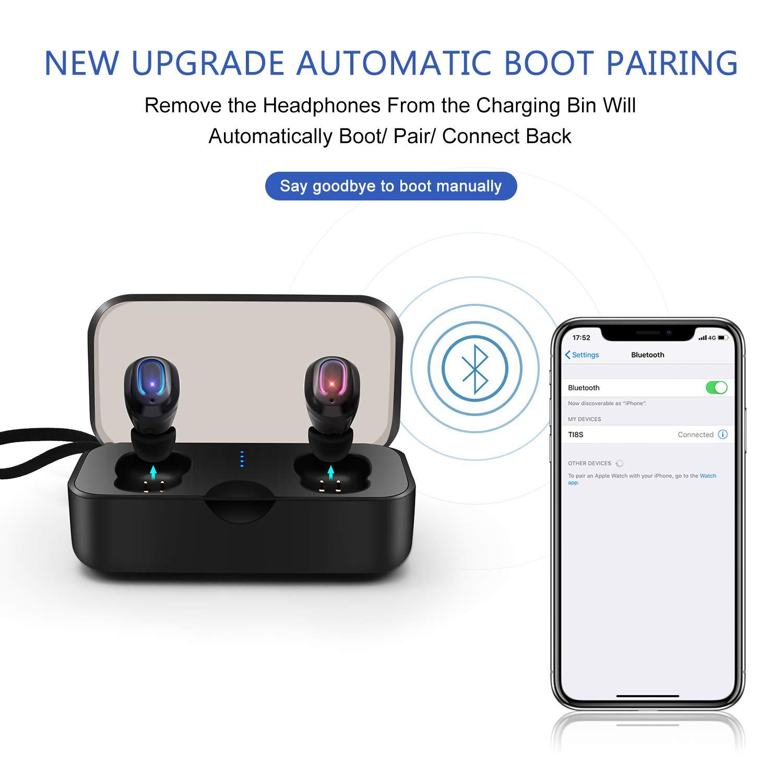 SYOSIN Auriculares Bluetooth V5.0, TWS Auriculares Inalambricos Impermeables IPX6 HiFi Cascos Deportivos In-Ear Estéreo Inalámbricos con Mic para iPhone y ...