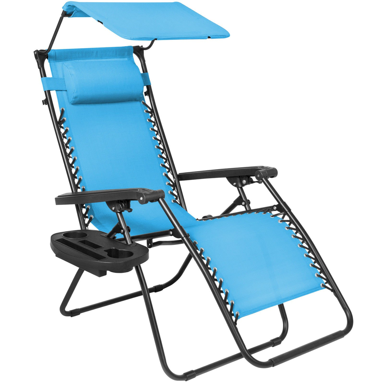 Creative Comfort Design Folding Zero Gravity Lounge Chair With Canopy & Magazine Cup Holder Provides Relaxation, Peace and Serenity With Its Mesh Fabric (Light Blue)