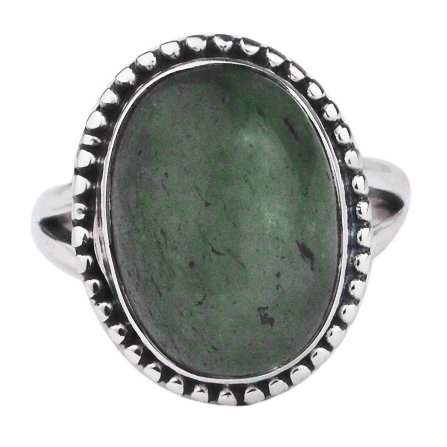 Crystalcraftindia 925 Sterling Silver Green Aventurine Rings Size 7 US 5.74 g
