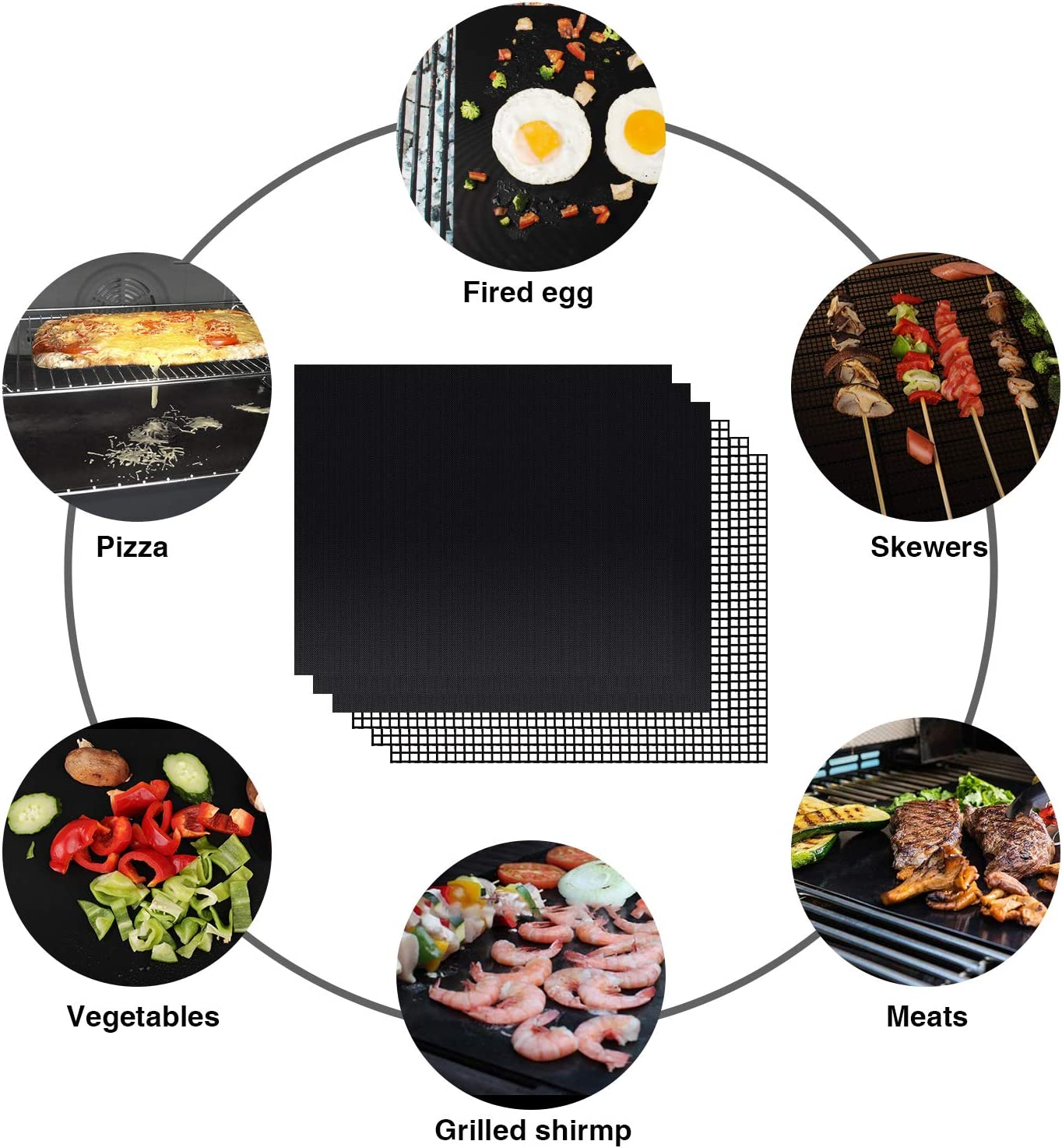 Charcoal PGYARD Grill Mat 15.75 x 13 Inch Works on Gas Non-Stick ...