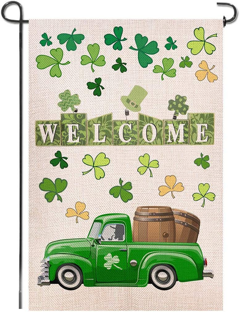 "Shmbada St Patrick's Day Burlap Garden Flag, Double Sided Outdoor Lawn Yard Home Decoration Small Flag Irish Shamrock Clover Banner Holiday Green Truck Party Beer Accessories Decor, 12.5"" x 18.5"""