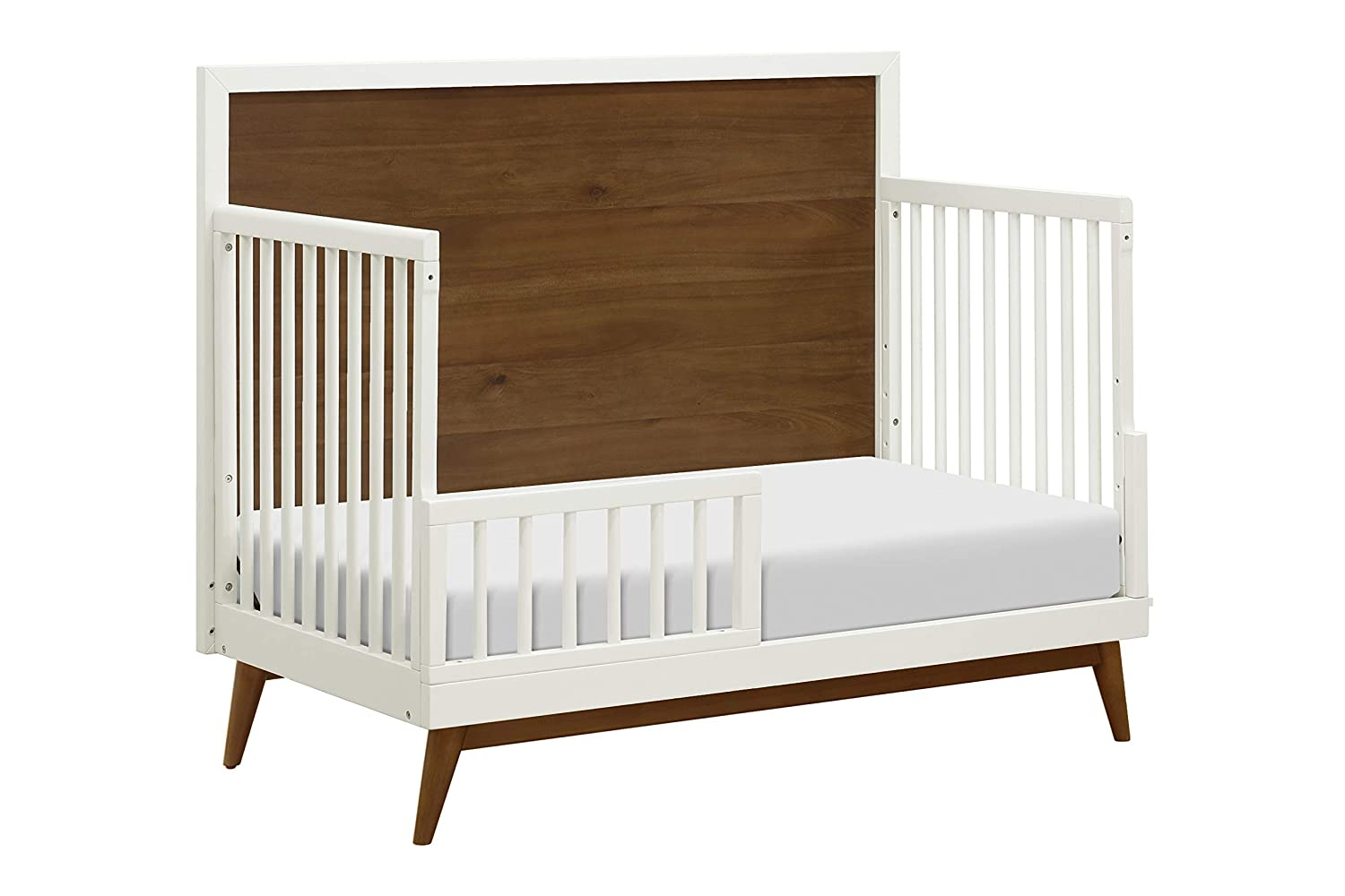 Amazon com babyletto palma 4 in 1 convertible crib white natural walnut baby