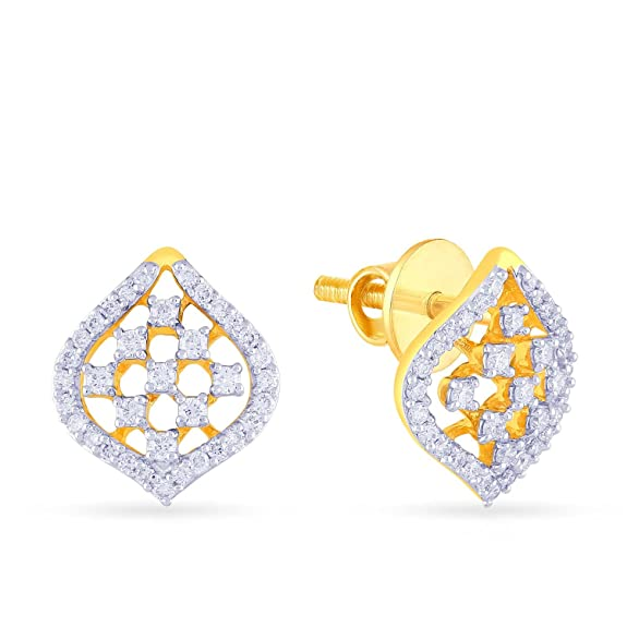 Malabar Gold and Diamonds 18KT Yellow Gold and Diamond Stud Earrings for Women Women